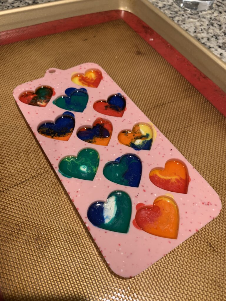 melted crayons in a silicone heart shaped mold