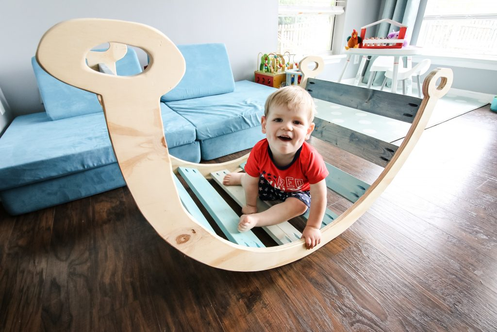 pikler inspired arch and rocker climbing toy for toddlers
