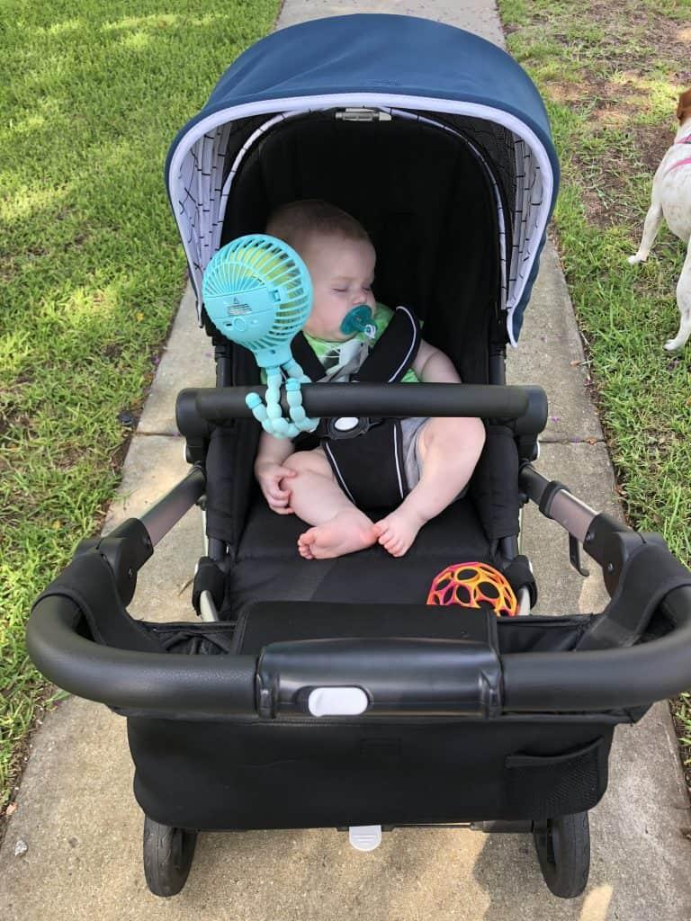 baby in mockingbird stroller