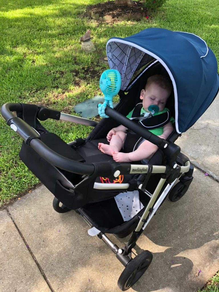 baby sleeping in mockingbird stroller