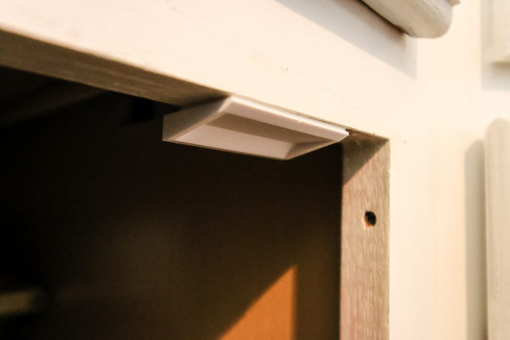 eco baby cabinet locks installed on cabinet