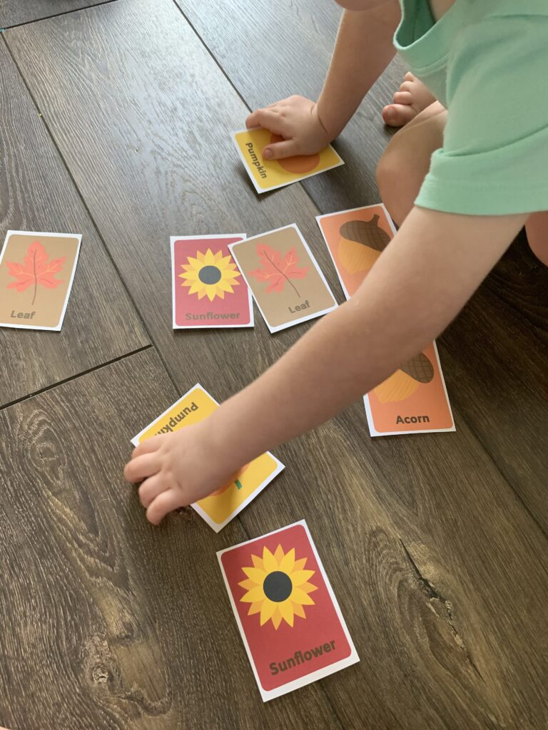 printable fall matching game with pieces cut out