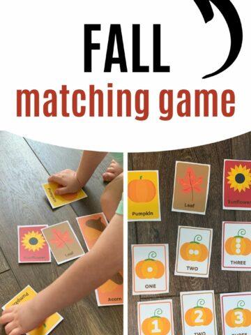 free printable fall matching game